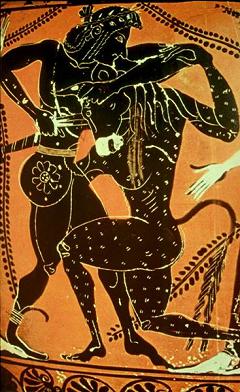 ミノタウルスを倒すテセウス
