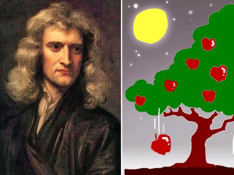 ニュートンは月と落下するリンゴを見て万有引力を発見