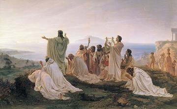 日の出を祝うピタゴラス(1869, Fyodor Bronnikov)