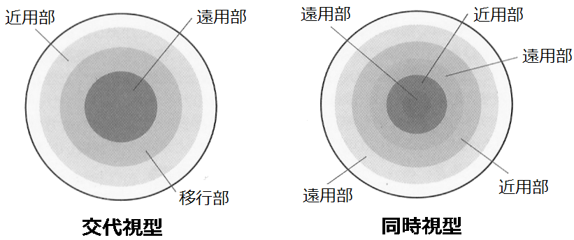 交代視型(視軸移動型)コンタクトレンズと同時視型コンタクトレンズ