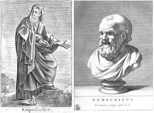 エンペドクレス(左)とデモクリトス(右)